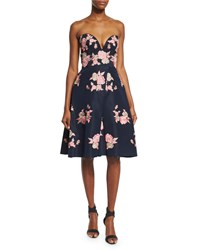 Naeem Khan Strapless Floral Embroidered Cocktail Dress Navy Pink Navy Pink