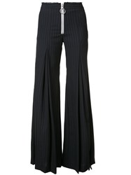 Off White Zip Down Trousers Women Cotton Wool Xs Blue