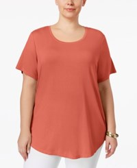 Jm Collection Plus Size Short Sleeve Top Only At Macy's Peach Zing