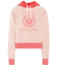 Saint Laurent Printed Cotton Hoodie Pink