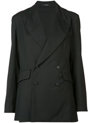 R 13 R13 Double Breasted Blazer Women Cotton Virgin Wool M Black