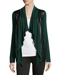 Neiman Marcus Faux Leather Knit Open Cardigan Woodland Green