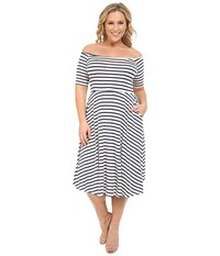Rachel Pally Plus Plus Size Lovely Dress Atlantic Stripe Women's Dress Gray