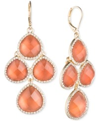 Anne Klein Gold Tone Pave Colbalt Blue Crystal Chandelier Earrings Coral