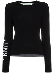 Off White 'Knit' Round Neck Jumper Black