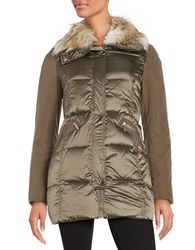 French Connection Faux Fur Collar Puffer Coat Taupe