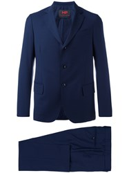 Massimo Piombo Mp Single Breasted Two Piece Suit Men Cotton Viscose Mohair Virgin Wool 48 Blue