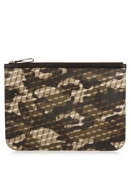 Pierre Hardy Cube And Camouflage Print Large Canvas Pouch Black White
