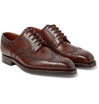 George Cleverley Henry Pebble Grain Leather Wingtip Brogues Chocolate