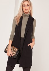 Missguided Sleeveless Tailored Faux Wool Coat Black