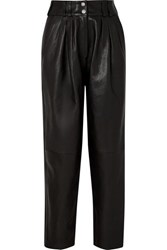 Balmain Pleated Leather Tapered Pants Black