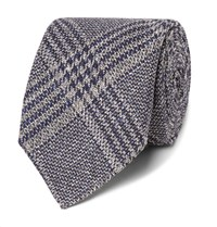 Kingsman Drake's 8Cm Checked Wool Silk And Linen Blend Tie Navy