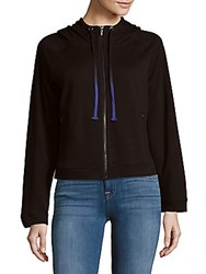 Andrew Marc New York Zippered Drawstring Hoodie Black