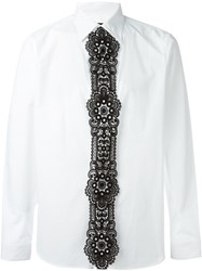Burberry Prorsum Lace Panel Shirt White