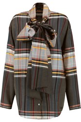 Suno Pussy Bow Checked Wool And Silk Blend Blouse Multi