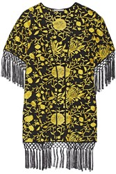 Alice Olivia Onella Embroidered Silk Kimono Jacket Yellow