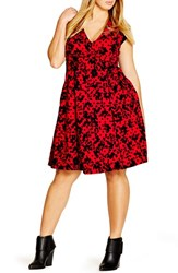 City Chic Plus Size Women's Flocked Cap Sleeve V Neck Dress Red