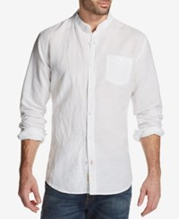 Weatherproof Vintage Men's Band Collar Shirt White