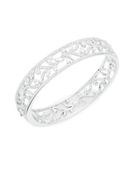 Nadri Cubic Zirconia Leaf Bangle Bracelet Silver