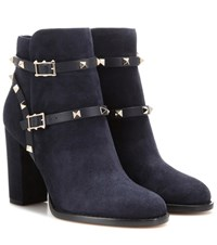 Valentino Rockstud Suede Ankle Boots Blue