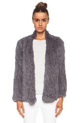 Nicholas Knitted Fur Jacket In Gray
