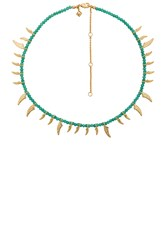 Rebecca Minkoff Tiki Beaded Spike Necklace Metallic Gold