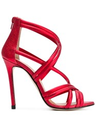 Marc Ellis Metallic Strappy Sandals Red