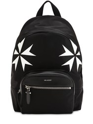 Neil Barrett Patch Stars Nylon And Leather Backpack Black White
