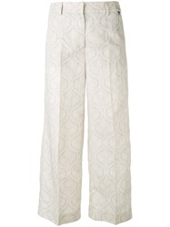 Twin Set Cropped Trousers Women Cotton Linen Flax 46 Nude Neutrals