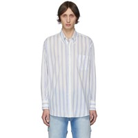 Our Legacy White And Blue Stripe Less Borrowed Shirt