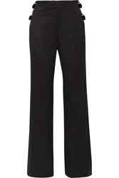 Helmut Lang Buckled Cotton Twill Wide Leg Pants Black
