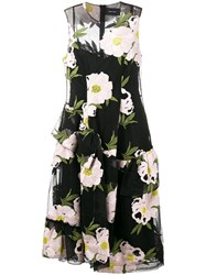 Simone Rocha Floral Embroidered Dress Black