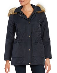Kate Spade Faux Fur Trimmed Anorak Coat Deep Navy