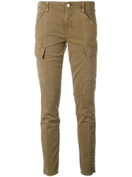 J Brand Skinny Cropped Cargo Pants Women Cotton Polyester Polyurethane 24 Brown