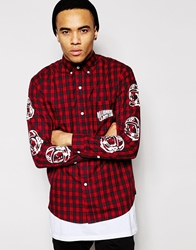 Billionaire Boys Club Plaid Shirt With Helmet Print Red