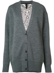 Vera Wang Lace Back Cardigan Grey