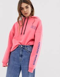 Pull And Bear Pullandbear Oversized Sweatshirt With Slogan In Pink