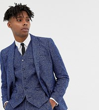 Heart And Dagger Skinny Fit Suit Jacket In Blue Dogstooth