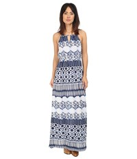 Roper 0235 Aztec Stripe Printed Maxi Dress Blue Women's Dress