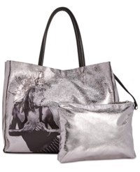 Betsey Johnson In A Flash Large Shopper Tote With Pouch Silver