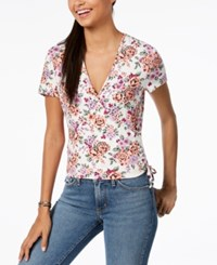Ultra Flirt By Ikeddi Juniors' Cropped Wrap Top Ivory Floral