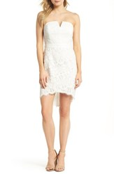 Adelyn Rae Strapless Lace Dress White