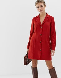 Glamorous Button Front Dress With Collar Red Rust