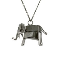 Origami Jewellery Elephant Necklace Sterling Silver Gun Metal Black