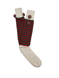 Gucci Rudolph Striped Wool Socks Green Multi