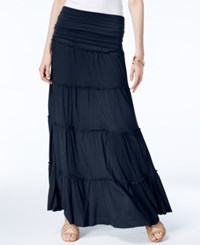 Inc International Concepts Tiered Convertible Maxi Skirt Only At Macy's Navy