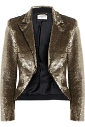 Saint Laurent Cropped Sequined Crepe Jacket Gold