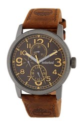 Timberland Men's Erving Multifunction Leather Watch Beige