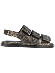 Marni Fusbett Distressed Metallic Sandals Women Calf Leather Leather Rubber 37.5 Black
