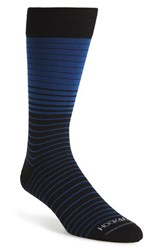 Men's Hook Albert 'Gray' Variegated Stripe Socks Blue